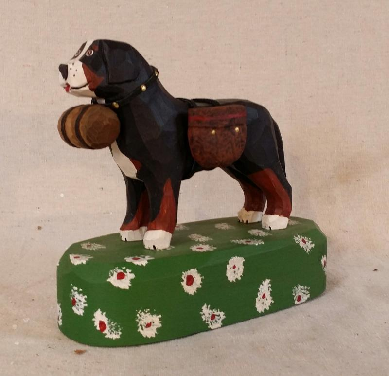 Handcarved Swiss Dog with pack by Jonathan Bastian for sale